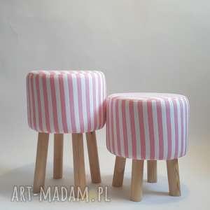 Pufa Różowe Paseczki - 36 cm, pufa, taboret, stołek, ryczka, dziecko, salon