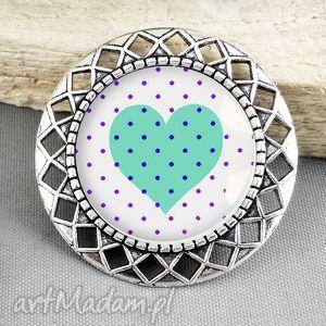 stylowa broszka z sercem w szkle - stylizowana, antyczny, antyk, srebrna, serce, serduszko