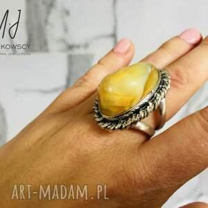 unikatowy srebrny 925 pierścionek z bursztynem rękodzieło