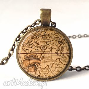 egginegg mapa świata - medalion z łańcuszkiem - czarne statek