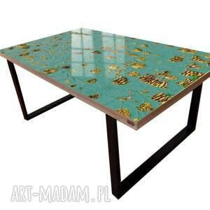 stoły royal - stolik kawowy ze złotą strukturą, strukturalny, zlota