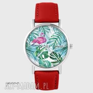 zegarki zegarek - flaming, tropikalny czerwony, skórzany, zegarek, bransoletka