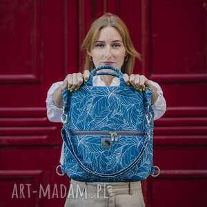 torebki plecak / torba 2 w 1 niebieskie wzory z weluru tapicerskiego, torebka
