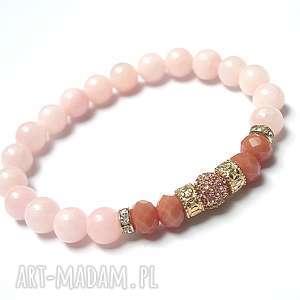 Wianek / sweet pink vol. 2 /13-10-17/, jadeity, kryształki, cyrkonie