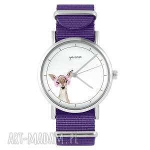 ręcznie wykonane zegarki zegarek - sarenka fioletowy, nylonowy