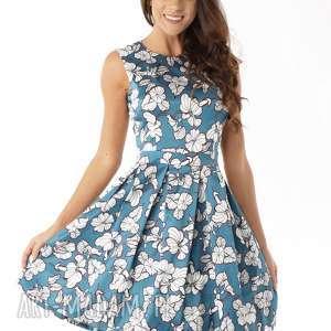 Sukienka kontrafałda seledynowo-białe wzory sukienki ella dora