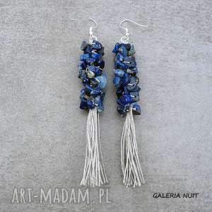 kolczyki len z lapis lazuli - długie kolczyki, długie, wiszące, len, naturalne
