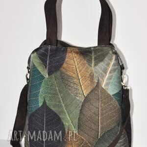 handmade na ramię torba hobo xxl - print liście