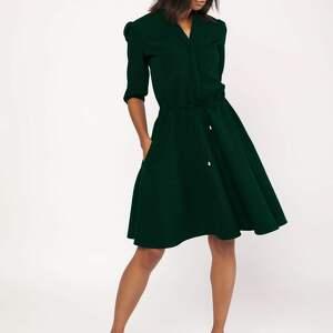 Sukienka o rozkloszowanym dole, suk156 butelkowa zieleń sukienki