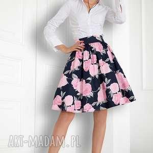 spódnica rozkloszowana w róże, spódnica, elagancka, rozkloszowana, granatowa