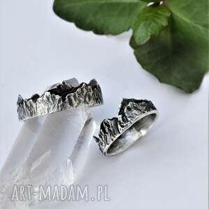ręcznie robione obrączki pierścionek z górami