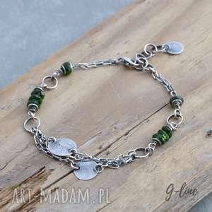 zielony turmalin, bransoletka srebrna z pastylkami - srebro, turmalin