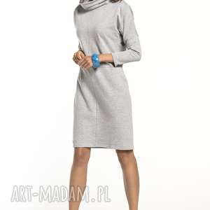 sukienki luźna sukienka z dzianiny dresowej golfikiem, t290, jasnoszary