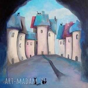 obrazy obraz na płótnie - bajkowe miasteczko format 50/40 cm, bajka, szary, niebieski