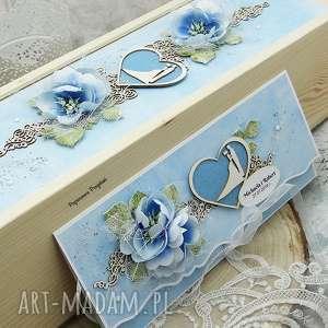 komplet ślubny - opakowanie na wino i kartka kopertówka, ślub, ślubna