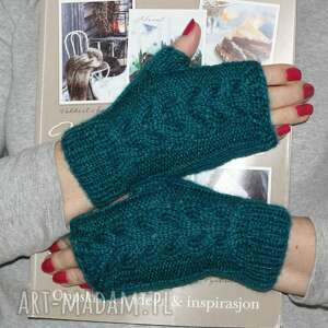 Mitenki z kłoskiem rękawiczki jaga11 na drutach, rękodzieło,