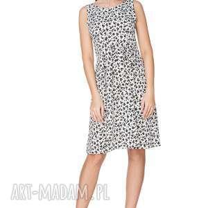 Sukienka 2w1 wiązana na kokardę T231, czarny kwiatek na białym tle,