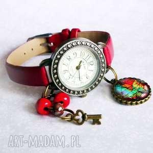 zegarki zegarek z zawieszką amazing, skórzany, modny, na-rękę, zawieszką, kolorowy