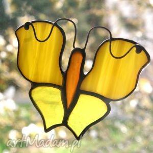szcześliwek słonecznikowy, motyl, witraż, zawieszka