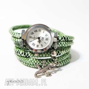 Zegarek, bransoletka - zielony, wężowy jaszczurka zegarki yenoo
