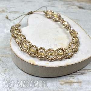 elegancka bransoletka z kryształkami w odcieniach przygaszonego złota
