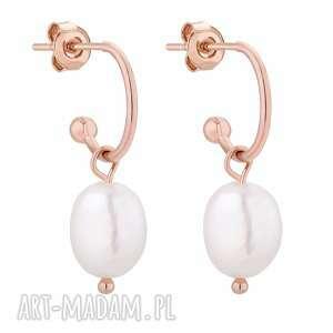 kolczyki z naturalnymi perłami z różowego złota - półkola