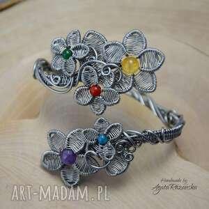 kwiaty kolorowa regulowana bransoleta ze stali chirurgicznej, wire wrapping