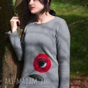 hermina sweter z aplikacją wełnianą, sweter, wełna, wełna czesankowa, aplikacja