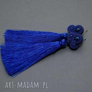 kobaltowe kolczyki sutasz , sznurek, granatowe, długie, chwost, kobaltowe, eleganckie