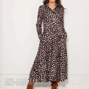 sukienki długa, koszulowa sukienka, suk190 panterka