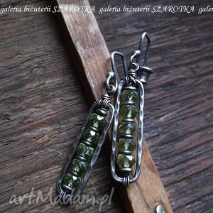 świeża zieleń kolczyki z peridotów i srebra, peridot, oliwin, srebro, oksydowane