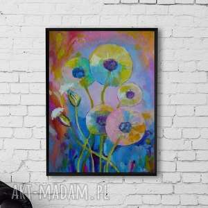 Obraz na płótnie - DMUCHAWCE 30/40 cm, abstrakcja, obraz, dmuchawce, akryl
