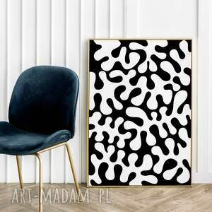 plakaty czarno-biała abstrakcja - plakat 40x50 cm, plakat, do salonu