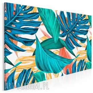 obraz na płótnie - liście tropikalne kolorowy 120x80 cm 92301