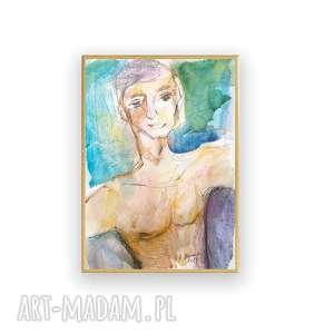 oprawiona akwarela ręcznie malowana, chłopak szkic, pływak obraz, nowoczesny