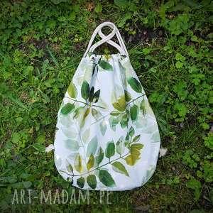 unikalny, plecak worek xl, plecak, worek, liście, lato, len, wegański