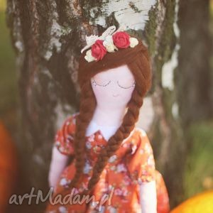 Jesienna Bajka - Lalka Cynia, lalka, wróżka, koronka, wianek