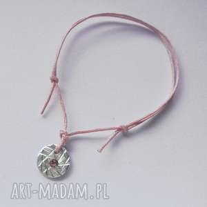okrąg bransoletka, srebro, swarovski, sznurek bransoletki, świąteczne prezenty