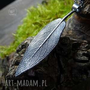 sage leaf necklace, srerbny liść, liść szałwii, srerny naszyjnik, natura, boho