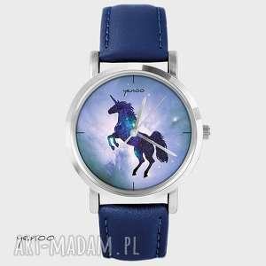 zegarki zegarek, bransoletka - jednorożec, unicorn granatowy, skórzany