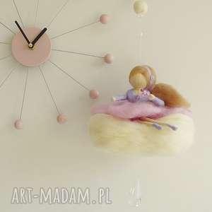Mobil - Różowa wróżka na chmurce, mobil, waldorf, lalka, filc, karuzela, handmad