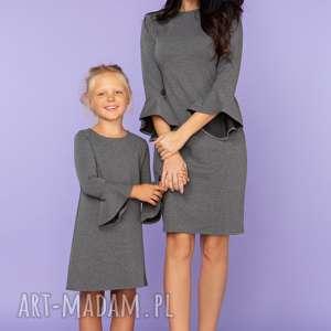 sukienki komplet dla mamy i córki sukienka z falbanką przy rękawie, model 26, szary