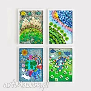 zestaw 4 prac a3 - widok, widoczek, góry, rysunek, plakat, ilustracja