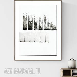 grafika 50x70 cm wykonana ręcznie, abstrakcja, elegancki minimalizm, sound of piano