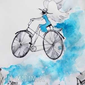 praca akwarelą i piórkiem anioł na rowerze rozsypujący spokój artystki plastyka