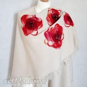 ponczo chusta zdobiona wełną - maki, ponczo, poncho, chusta, kwiaty, rękodzieło