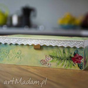 Prezent Zielono-turkusowe pudełeczko , pudełko, herbaciarka, prezent, szkatułka