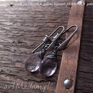 Wodnisty fiolet kolczyki z ametystów i srebra szarotka ametyst