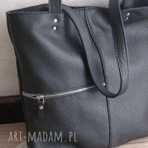 czarny, skórzany shopper, czarna skóra naturalna, torebka do pracy, shopper bag