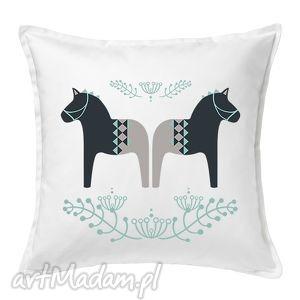 poduszka folkowe koniki 50x50 - folkowe, scandi, bawełna, duże, prezent, dekoracja